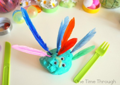Spring Feather Playdough