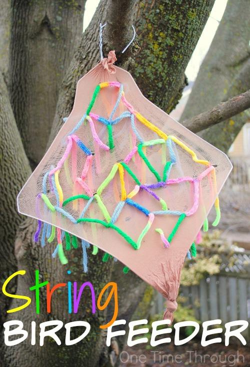 String Bird Feeder craft for kids