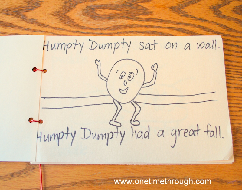 Child-Created Humpty Dumpty Rhyming Book - One Time Through