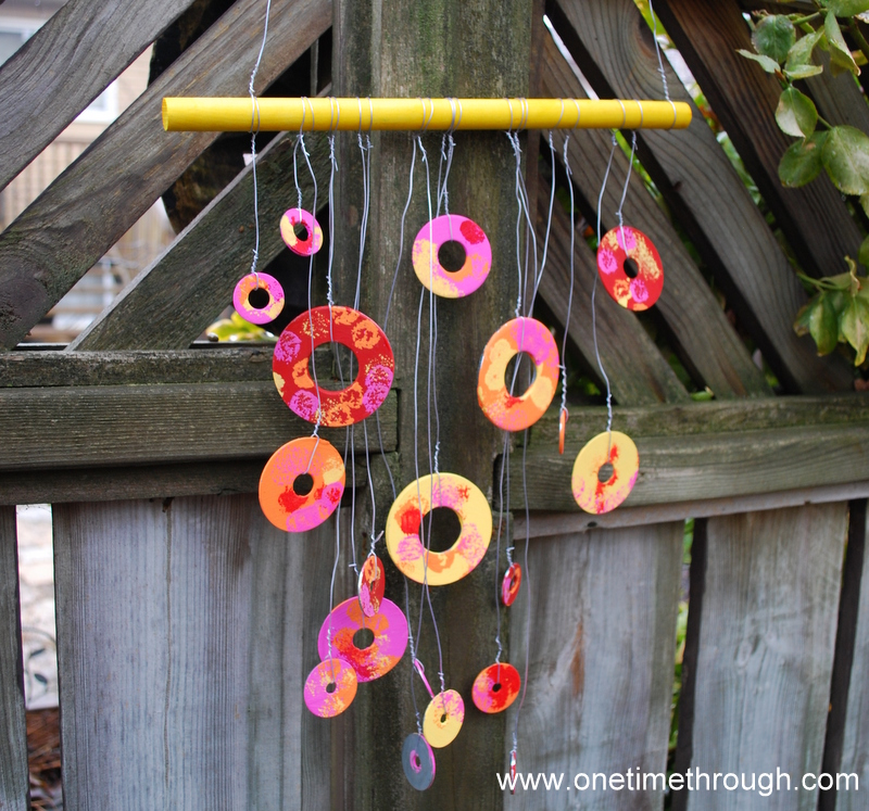 Spring garden washer wind chimes one time through for Wind chimes homemade crafts