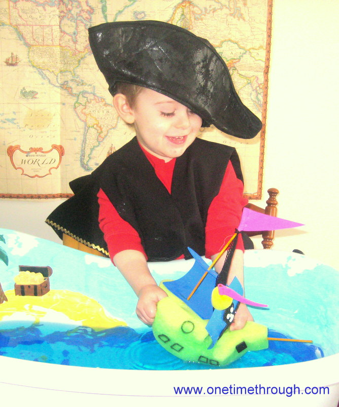 Playing with Sponge Pirate Ship
