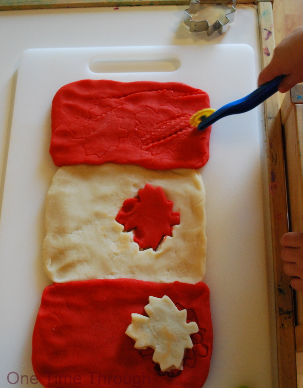 Canada Day Flag Playdough play