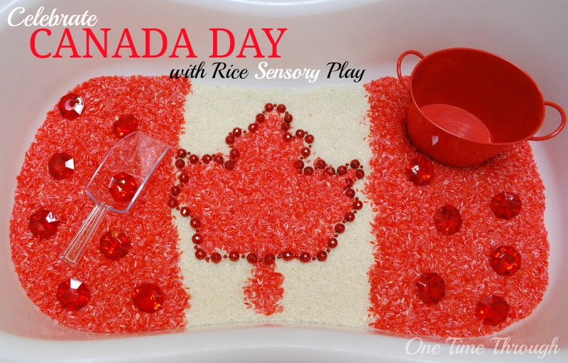 Canada Day Rice Sensory Play