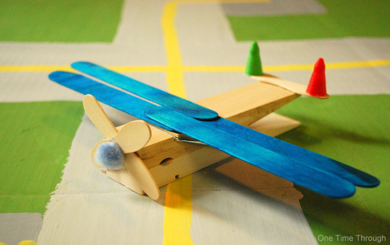 clothes peg planes craft one time through
