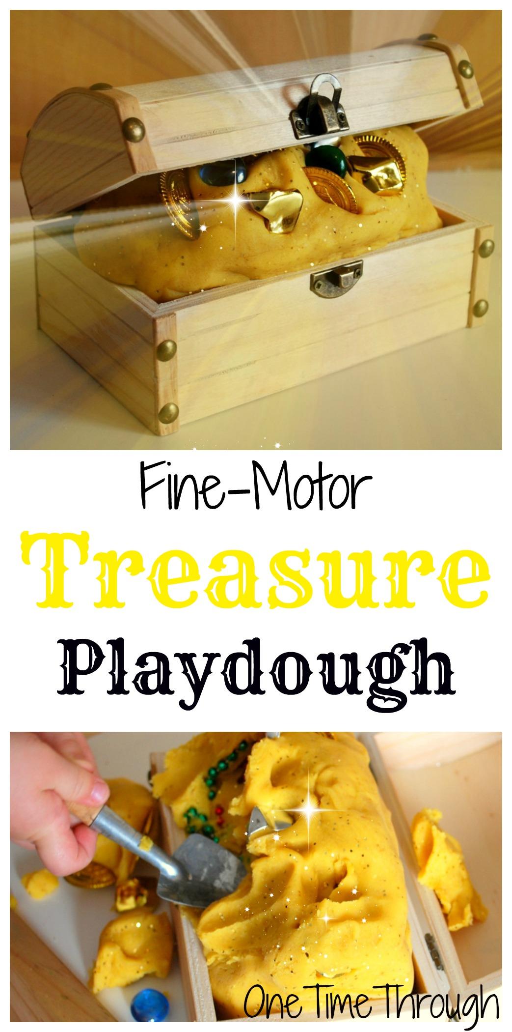 pirate treasure playdough fine motor fun one time through