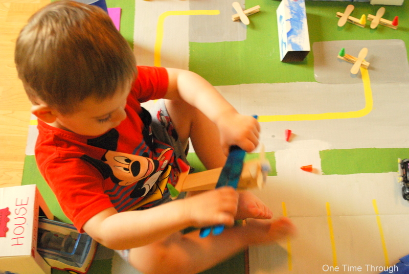 Playing with Clothes Peg Plane
