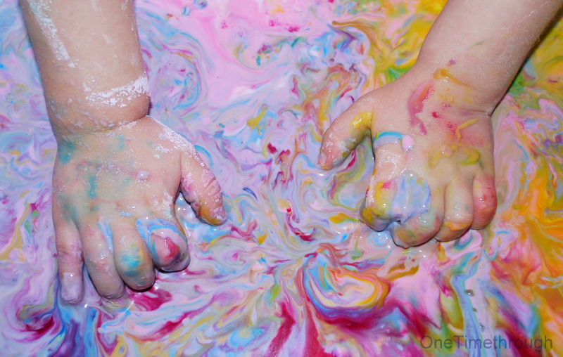 Cornstarch goop sensory play