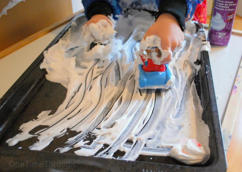 shaving cream highway play for kids