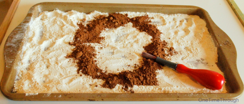 cocoa and flour sensory play