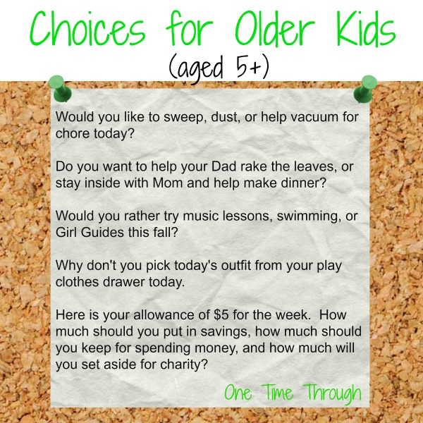 choices for older kids