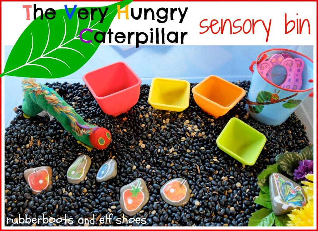 Very Hungry Caterpillar Learning Sensory Bin