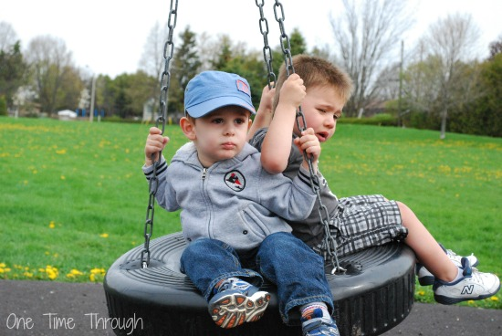 Aggressive Boys on a Swing