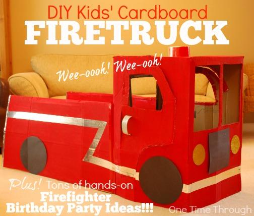 DIY Kids' Cardboard Firetruck