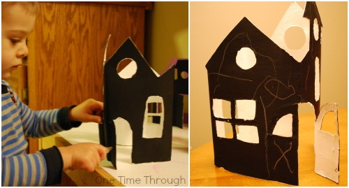 Decorating Haunted House Luminary with Crayon