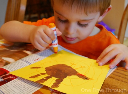Decorating Turkey Handprints