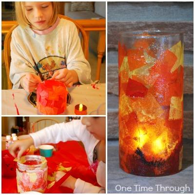 Fiery Tissue Paper Lantern