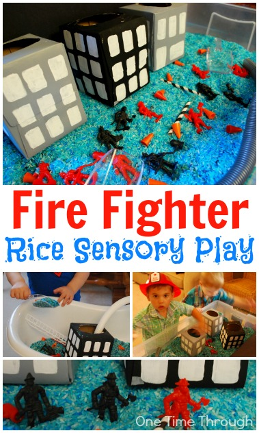 Fire Fighter Rice Sensory Play