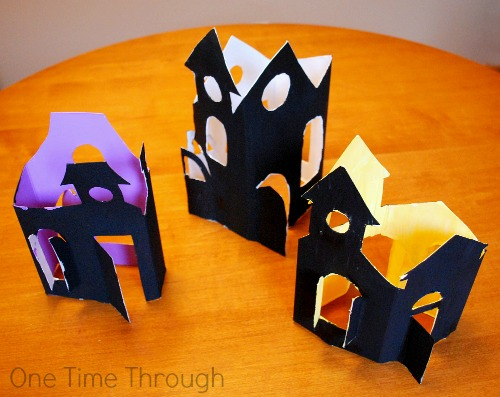 Painted but Undecorated Haunted House Luminaries