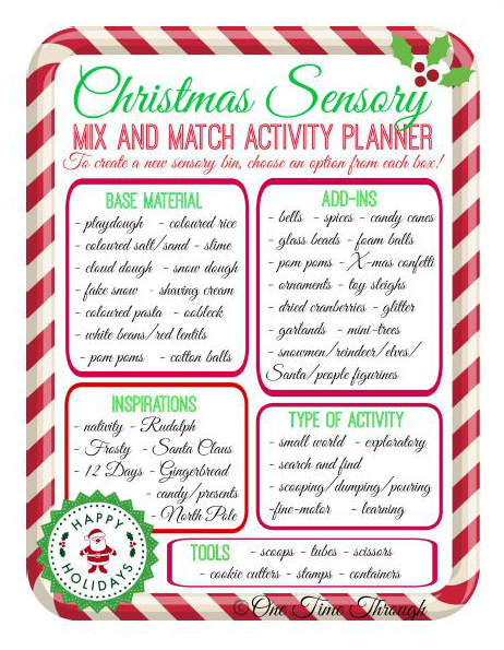 Christmas Sensory Mix and Match Sensory Activity Planner