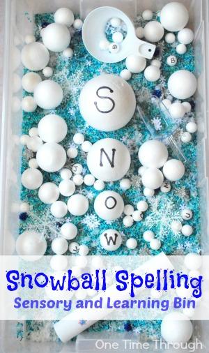 Snowball Spelling Sensory Bin