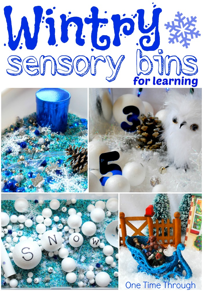 Wintry Sensory Bins for Learning