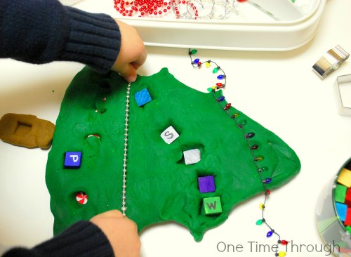 Decorating Christmas Tree Playdough