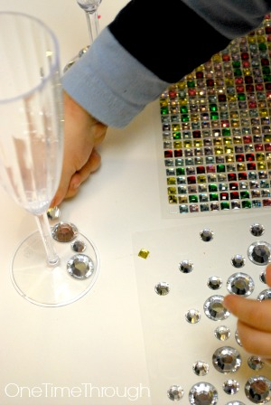 Decorating a New Years Toasting Glass