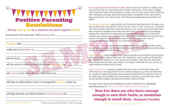 Parenting Resolutions Sample Picture