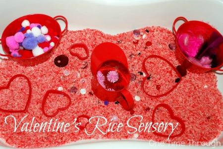 Valentine's Day Rice Sensory Bin
