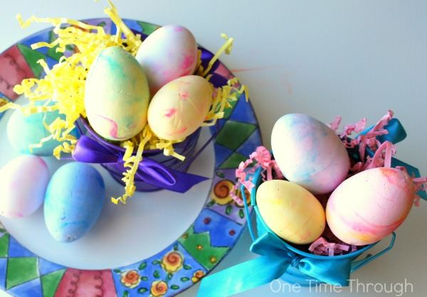 A Variety of Marbled Foam Easter Eggs