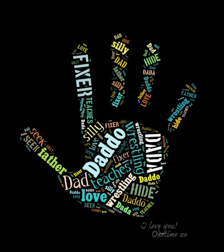 Handprint with message