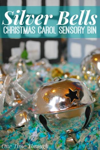 Silver Bells Christmas Carol Sensory Bin Blog Pin