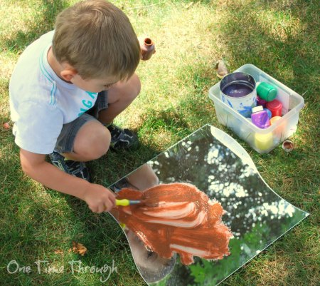 Mirror Painting summer play idea