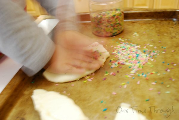 Making the confetti playdough