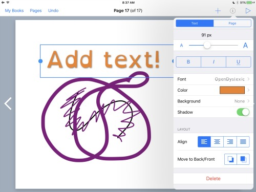 Adding Text on Book Creator
