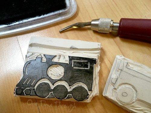 DIY Train Rubber Stamp