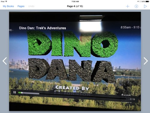 Dino Dana words on Book Creator