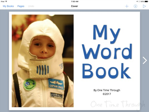 title page for personalized word book