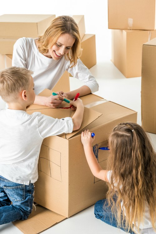 Decorating Moving Boxes with Kids