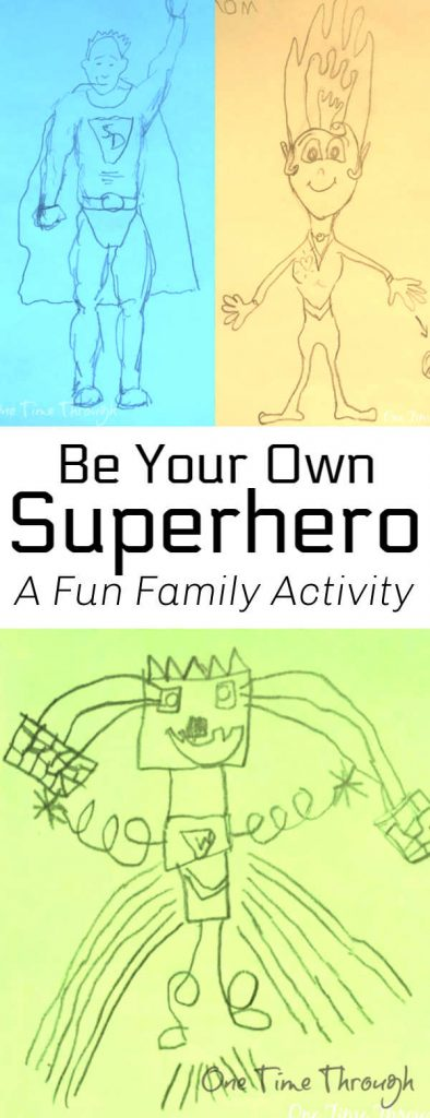 A collage of drawings of family members as superheroes.