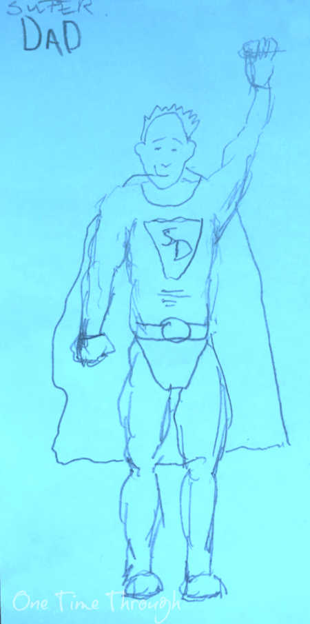 superhero dad drawing