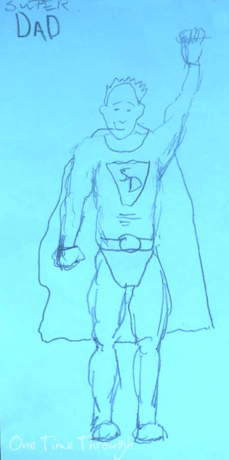 superhero dad drawing