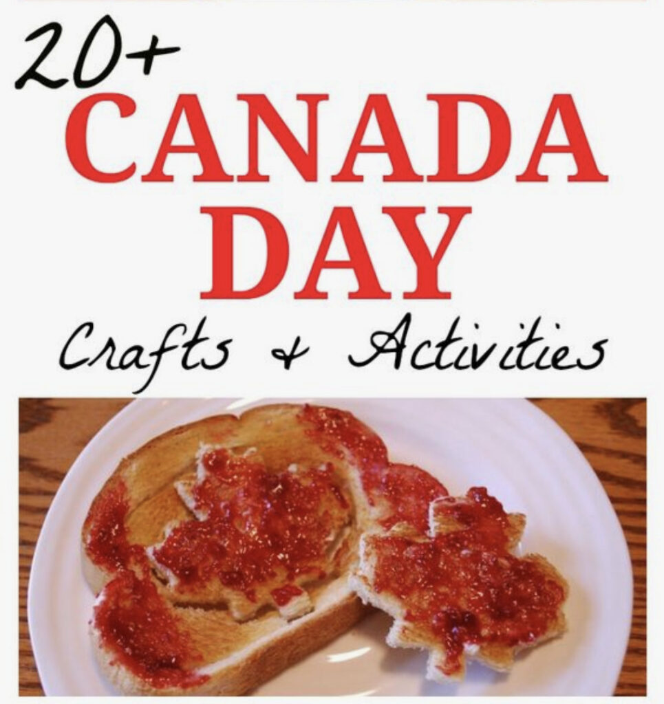 A picture to advertise Canada Day activities and crafts for kids.