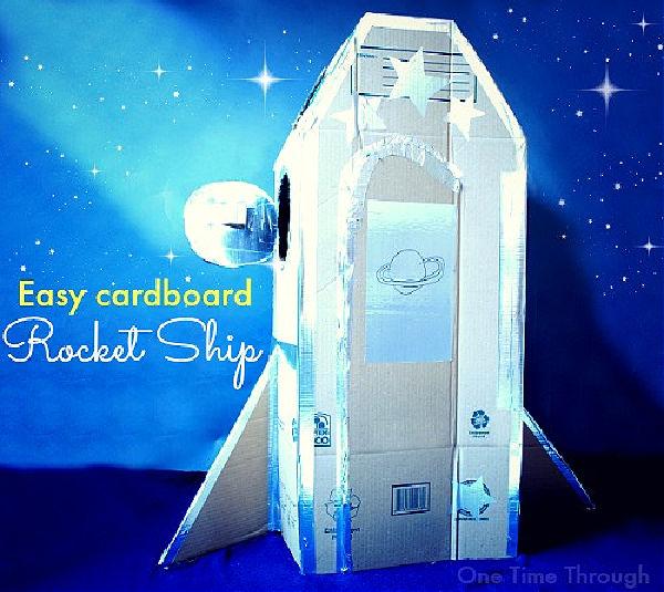 awesome DIY cardboard rocket ship
